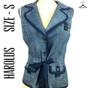 Harolds Blue Denim Button Down Wrap Style Vest